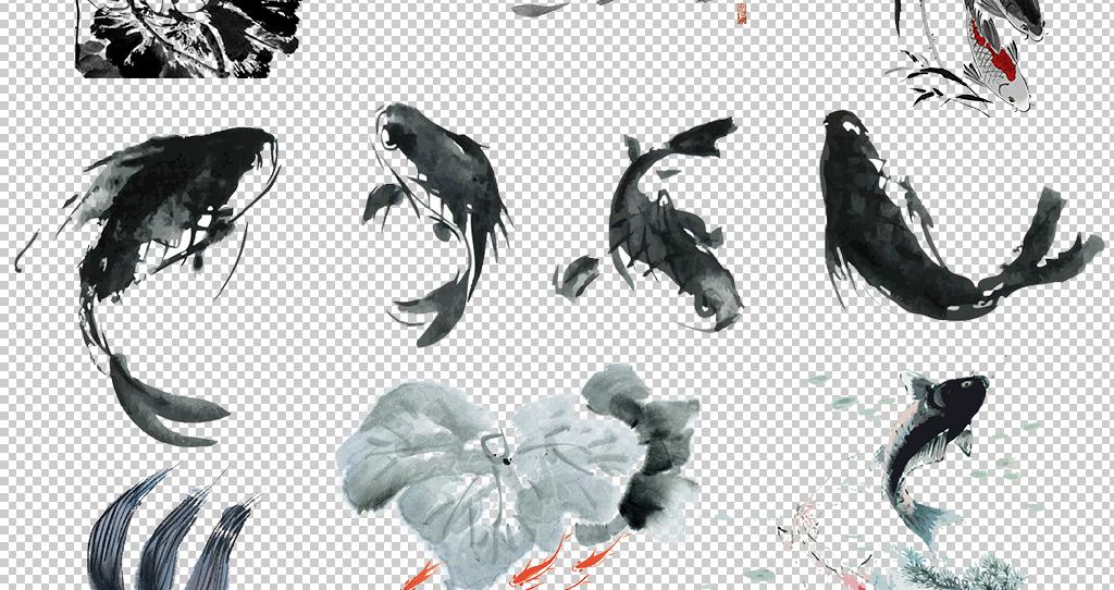 中国风古典水墨鲤鱼png素材图片 模板下载 30.15MB 中国风边框大全 图片