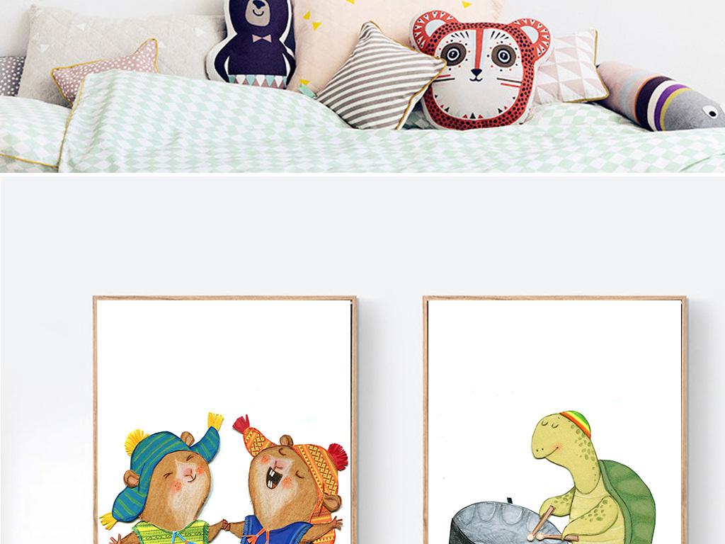 北欧简约手绘卡通动物熊猫乌龟装饰画
