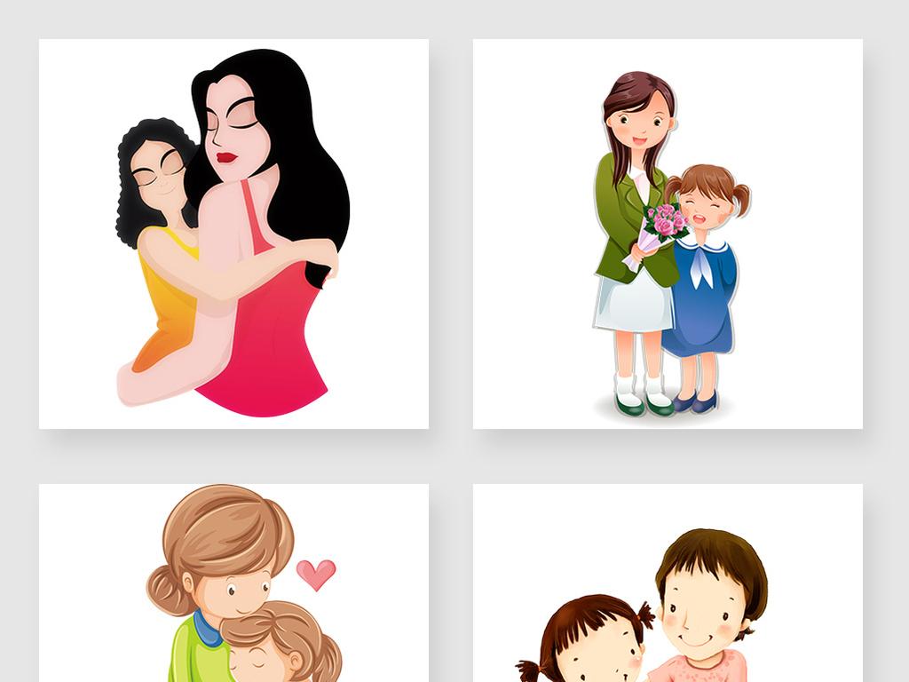 手绘卡通母亲节温馨母女母爱设计图片素材