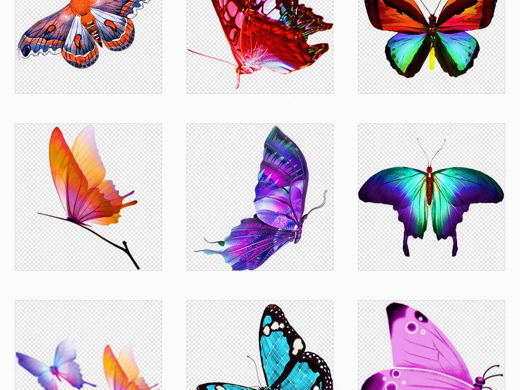 独立png/蝴蝶缤纷水墨蝴蝶彩色蝴蝶手绘蝴蝶设计素材