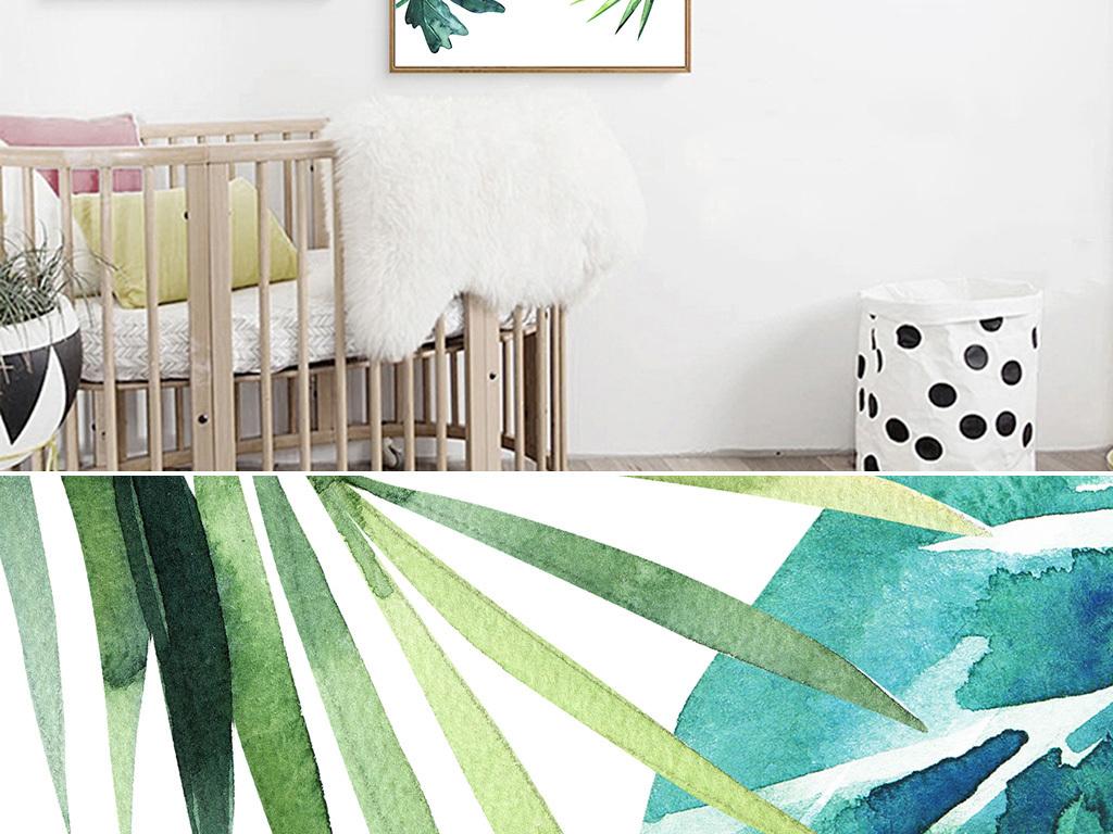 ins清新北欧叶子手绘植物绿色装饰画