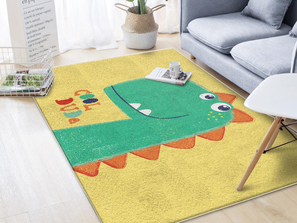 北欧手绘可爱动物恐龙儿童房客厅卧室地毯