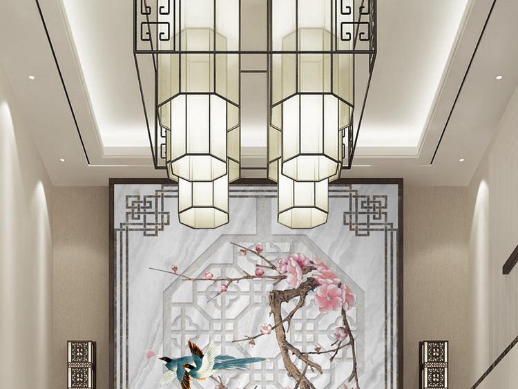 新中式大理石纹爵士白花鸟玄关背景喜上梅梢
