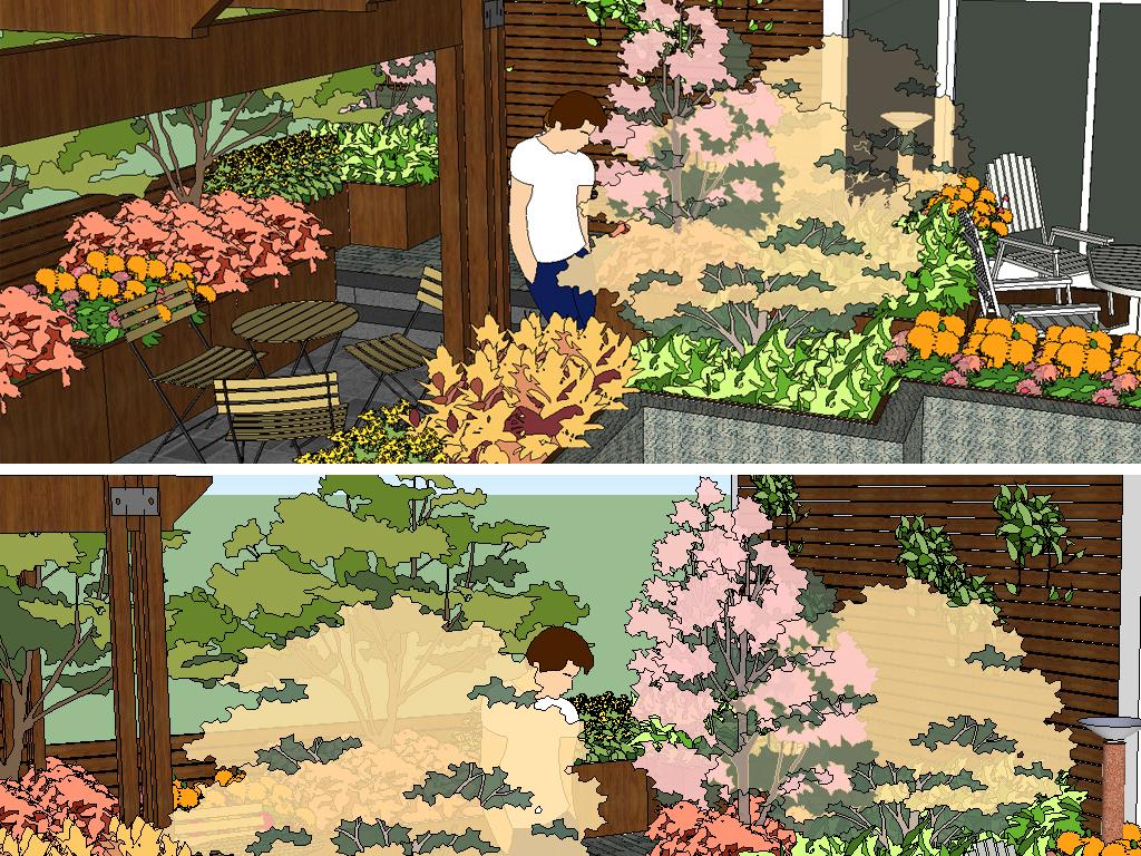 新中式豪华别墅精致庭院设计图下载(图片1.93mb)_植物