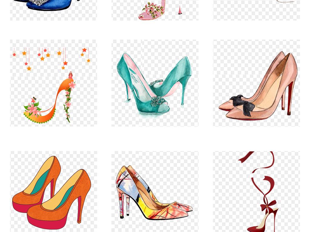 卡通手绘水彩高跟鞋女鞋设计png素材