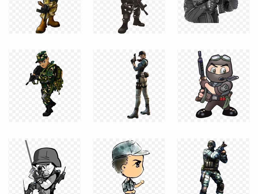 50款卡通军人士兵特种兵人物背景png免扣素材