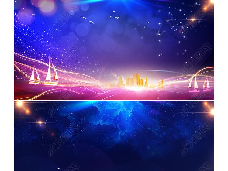 商务创意蓝色星空科技数据海报banner背景图