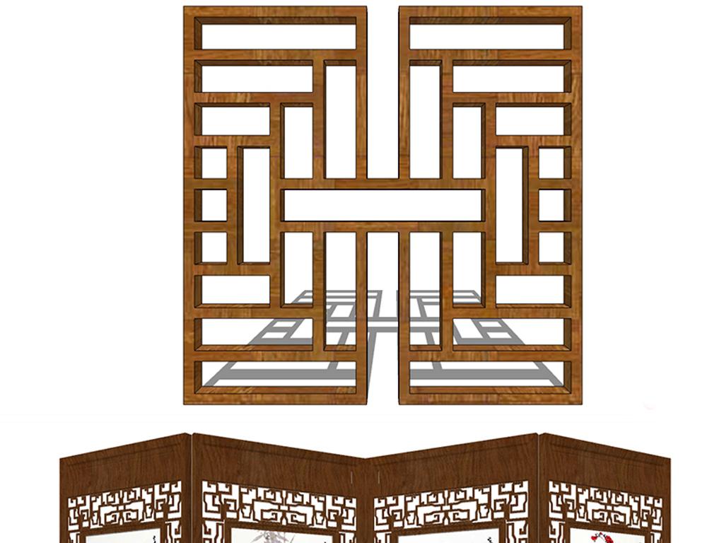 模型库 su模型 植物景观 > 草图大师新中式园林隔断屏风  素材图片图片