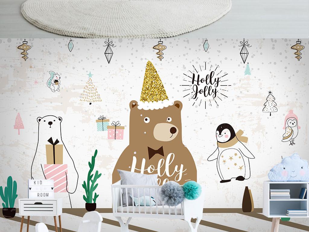 手绘可爱小熊大树儿童房背景墙