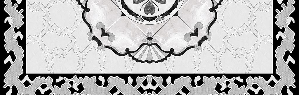 灰色大理石纹理抛晶砖水刀拼花地砖拼花图片