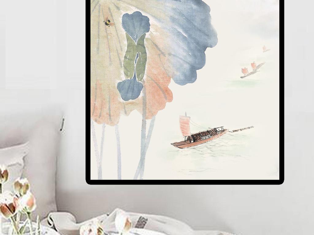 和-流水生财新中式手绘素雅禅意水墨荷花玄关装饰画素材
