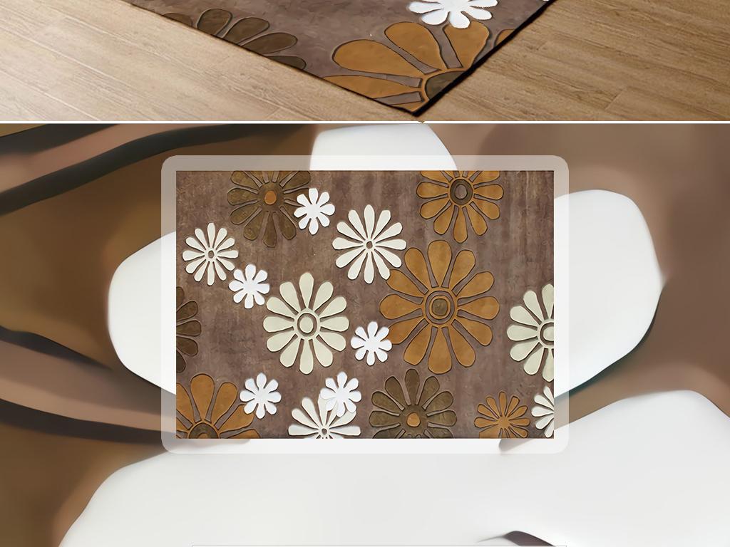 北欧时尚手绘复古风素雅小雏菊图案客厅地毯
