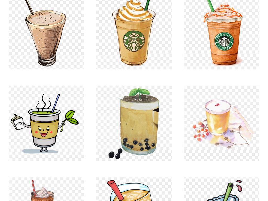 卡通手绘水彩饮料果汁奶茶png免扣素材