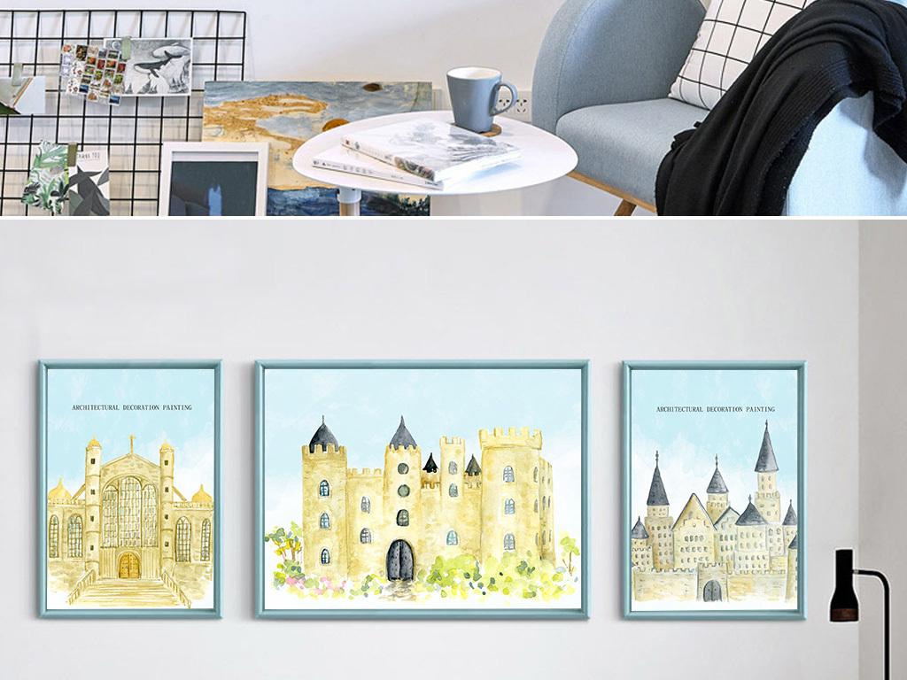 现代简约手绘建筑美式客厅装饰画