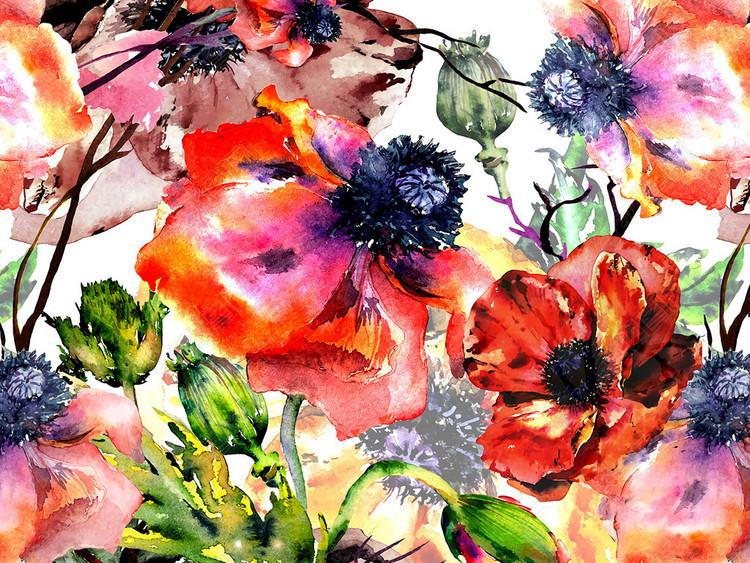 水彩植物花卉花纹无缝印花