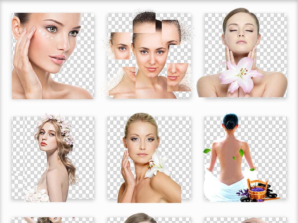 50款欧美美女彩妆护肤品海报广告模特png素材