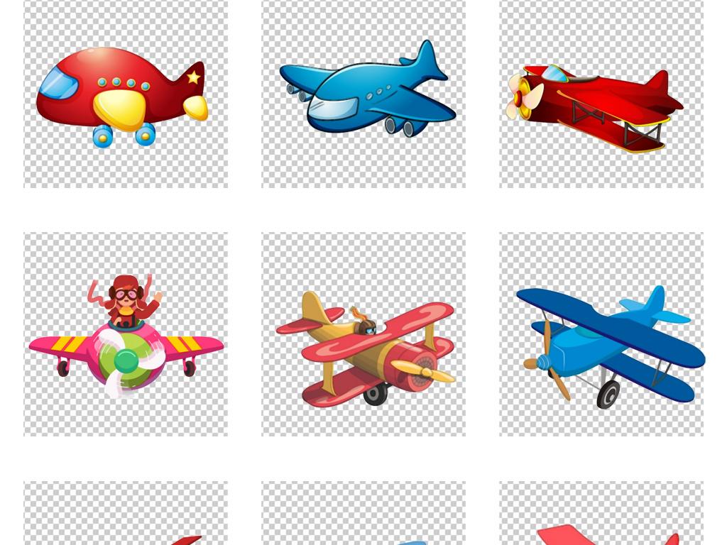 免扣手绘卡通涂鸦q版彩色飞机旅游装饰素材
