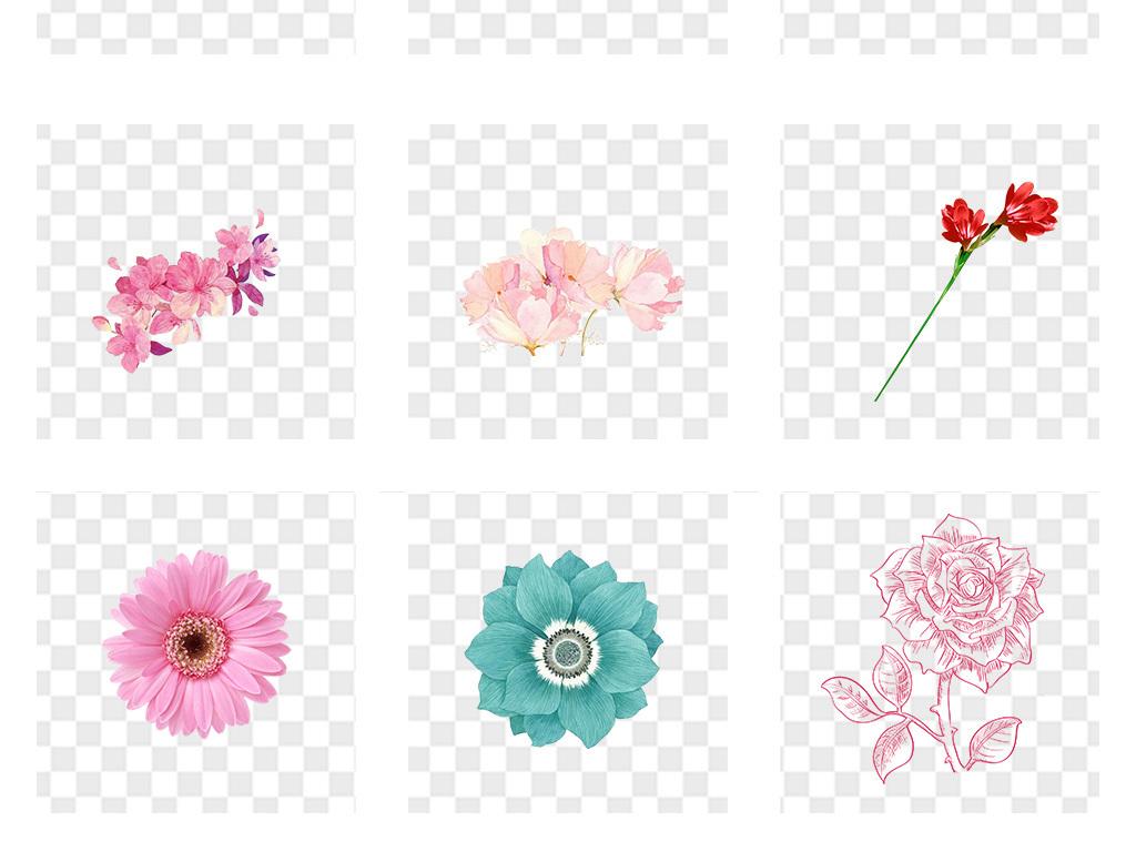 唯美手绘花朵母亲节康乃馨png免扣素材