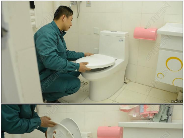 安装马桶打胶装盖清洁水池洗手台卫浴安装清洁马桶