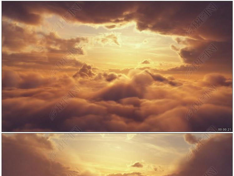 云海唯美穿梭云层之上日落高清影视动态