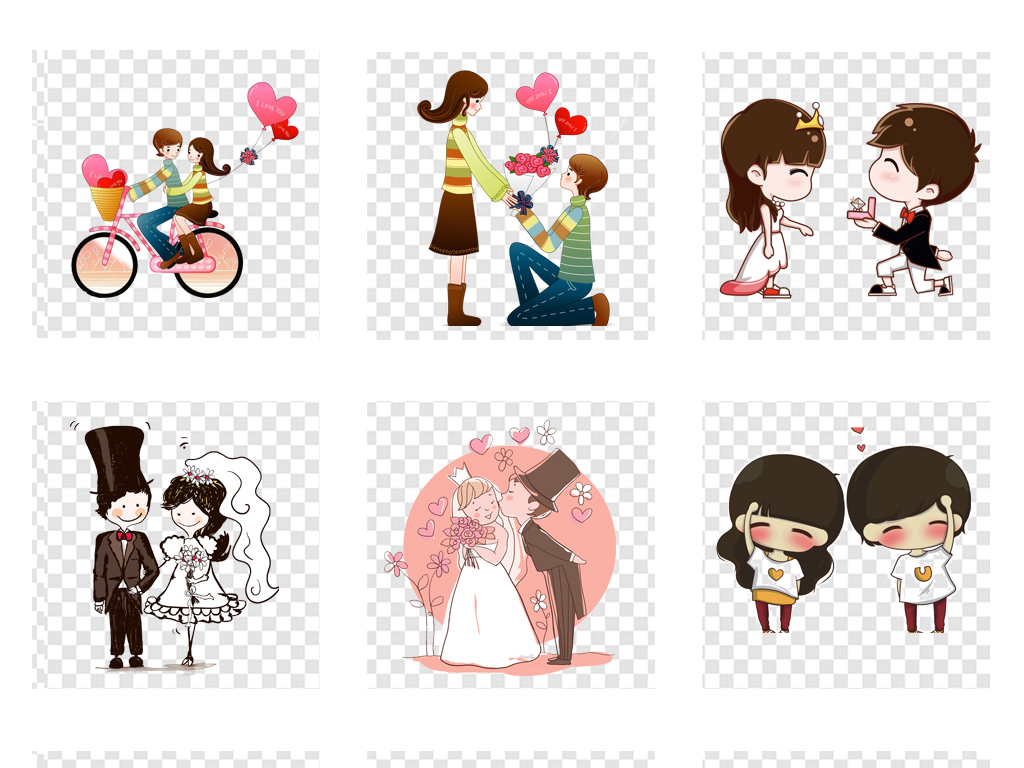 情人节卡通手绘情侣爱人爱情png透明素材图片_模板(28