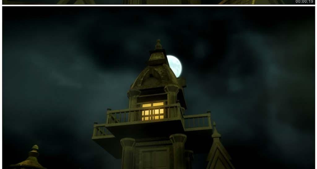 万圣节月光下的恐怖鬼屋高清背景视频模板素材 MP4格式下载 视频204