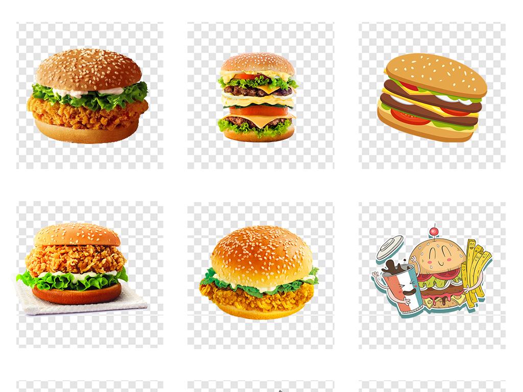 手绘麦当劳肯德基汉堡插图png背景素材
