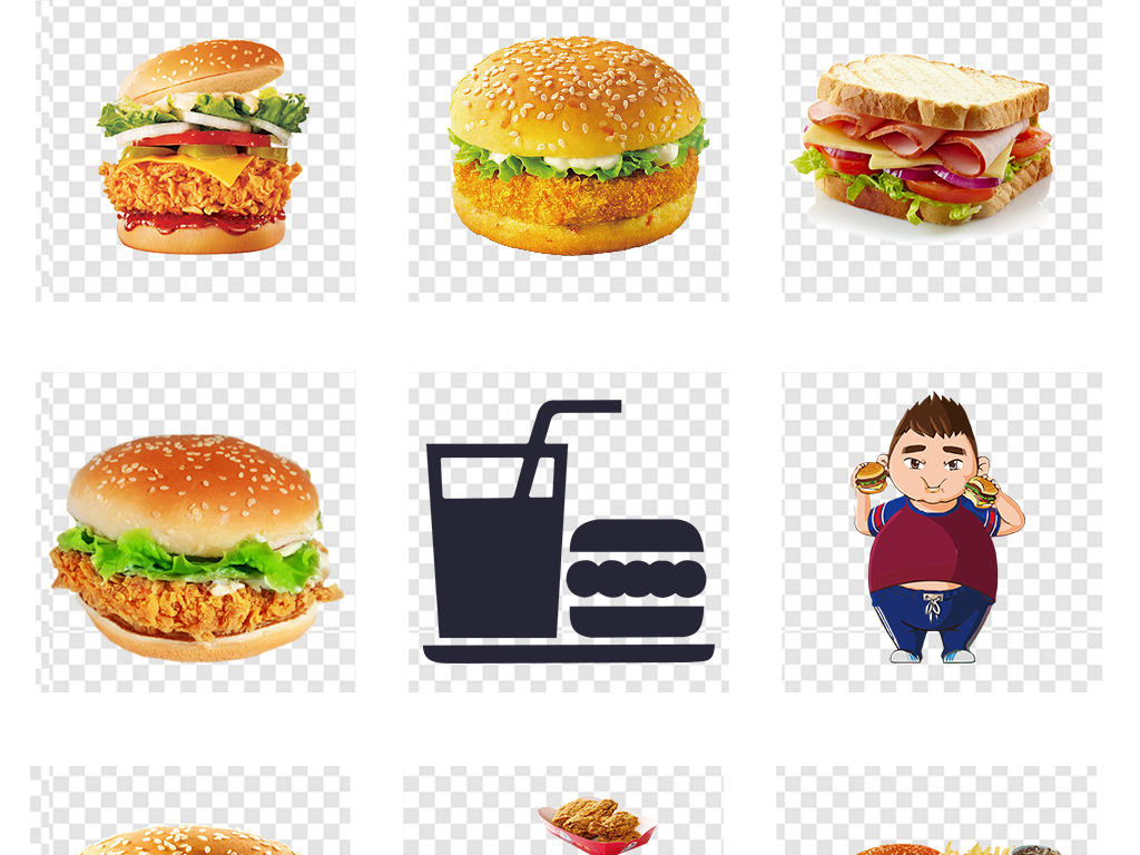 可爱手绘麦当劳肯德基汉堡插图png素材