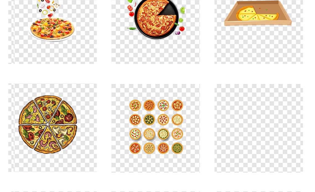 手绘美食美味披萨海报设计png透明素材