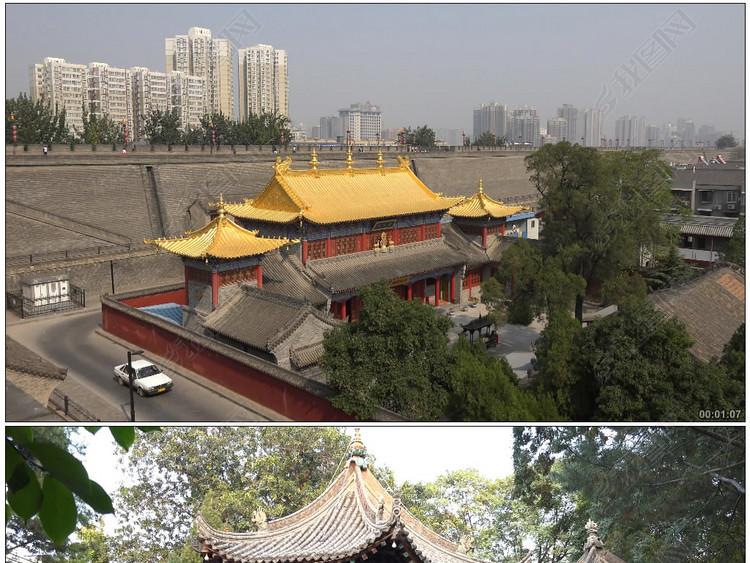 中国西安城墙护城河回民街大雁塔喷泉小雁塔