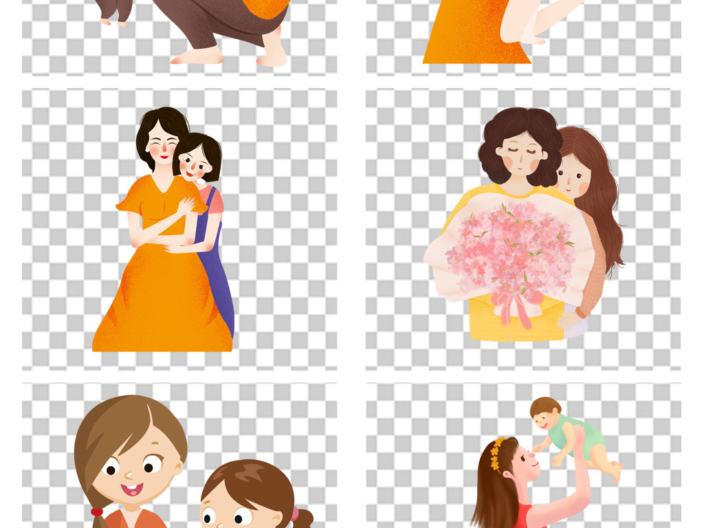 母亲节人物插画手绘人物素材