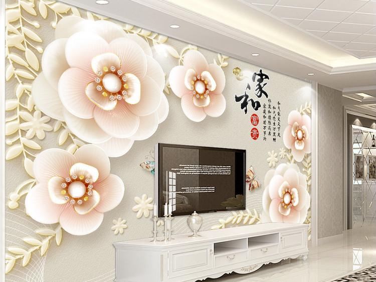 3D立体浮雕珠宝梅花家和富贵电视背景墙