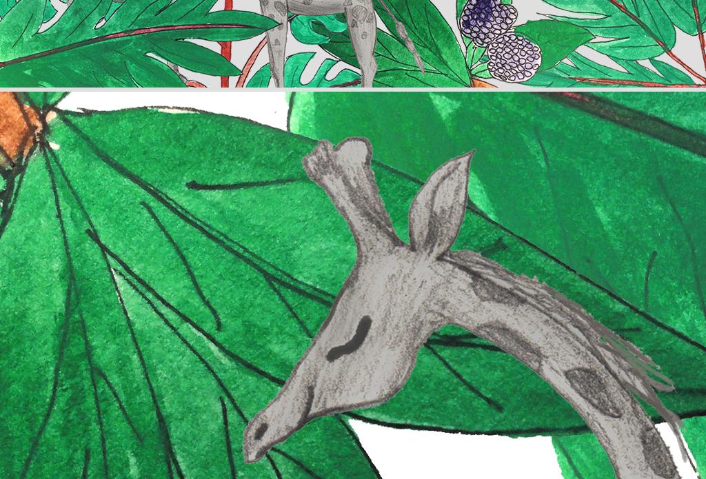 现代手绘水彩热带植物长颈鹿沙发背景墙