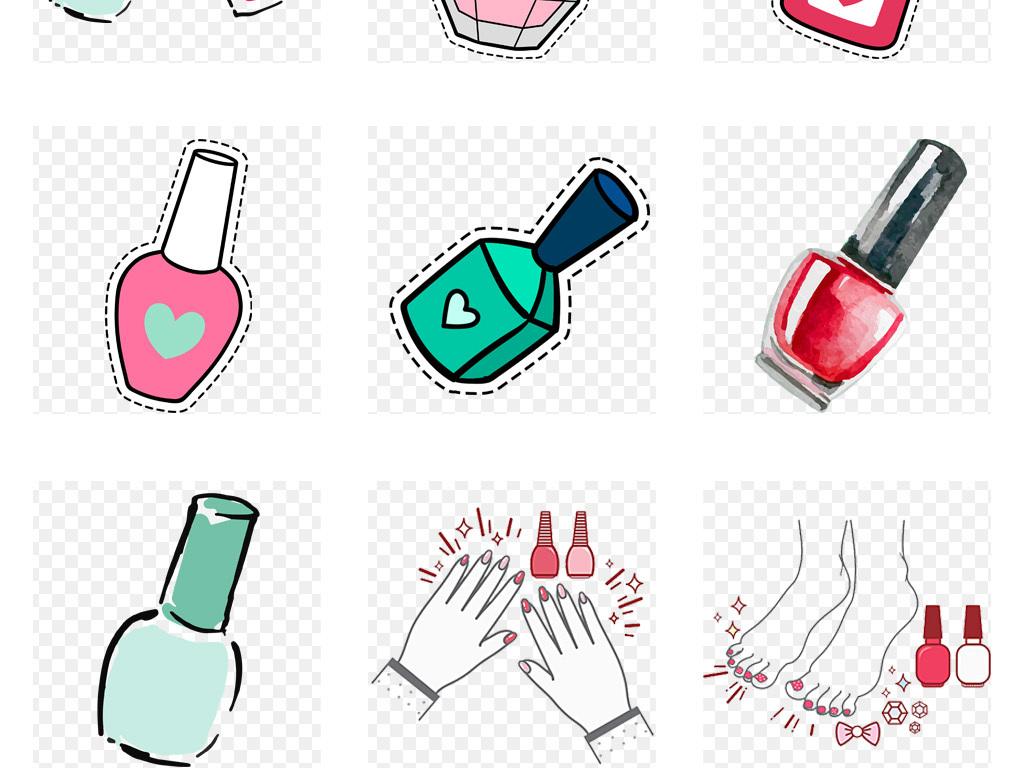 50款卡通手绘指甲油美甲美容化妆品海报背景png素材