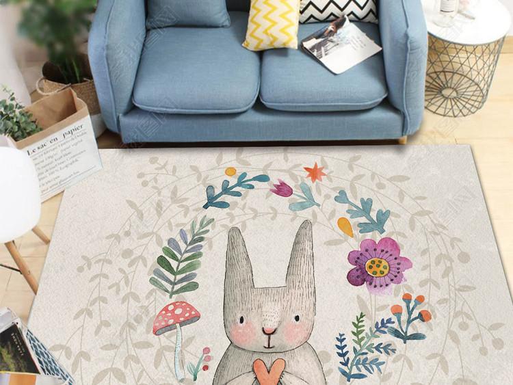 北欧手绘小免子地毯装饰画