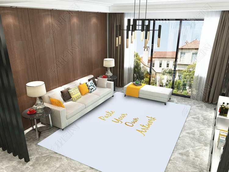 新装饰现代简约客厅地毯贴图样机