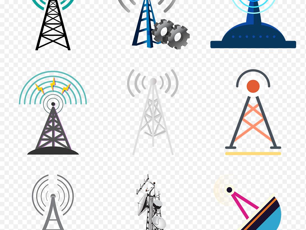 无线wifi手机信号塔发射基站海报素材png