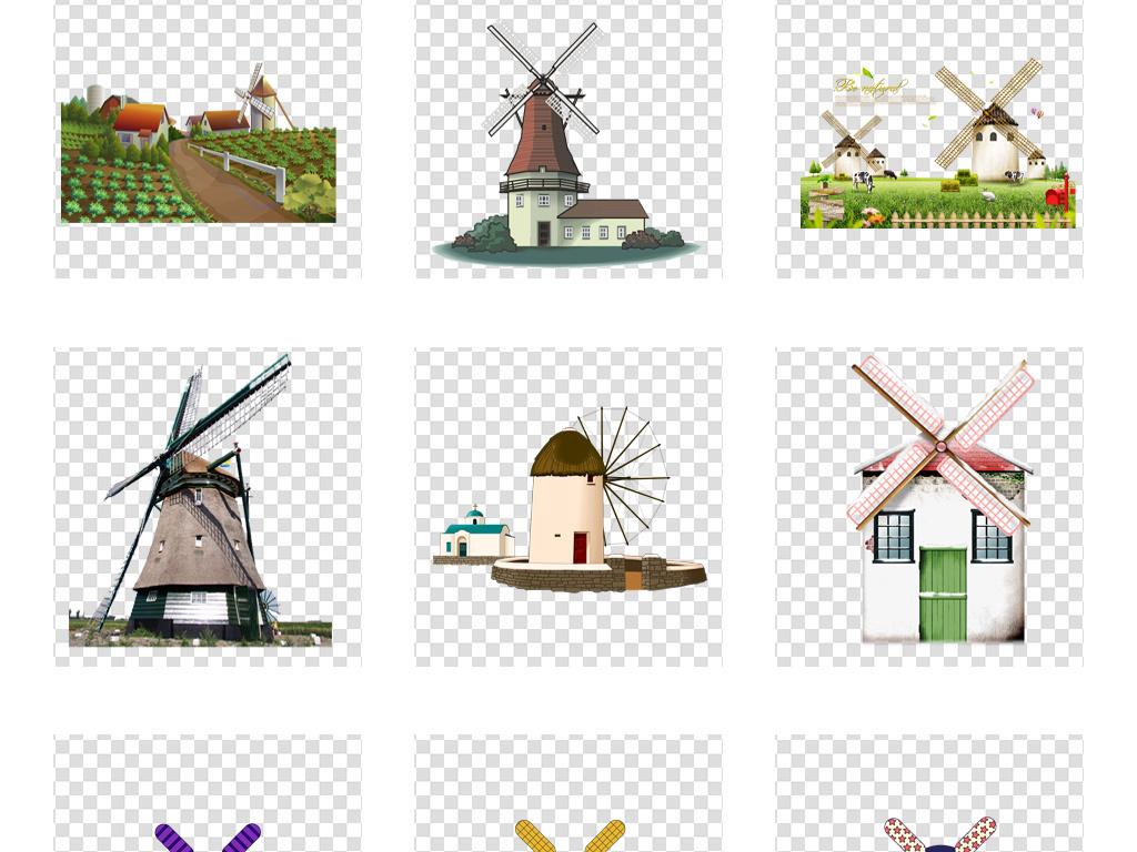 手绘卡通风车水车风车房png设计素材