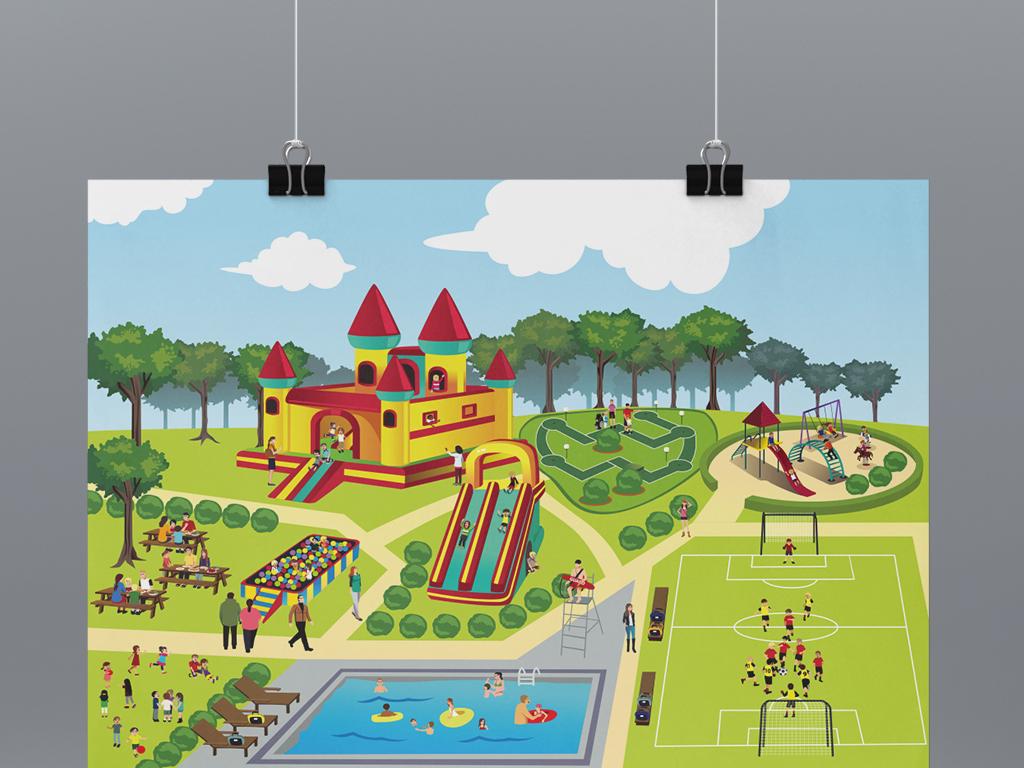 大型儿童游乐场矢量卡通插画图片设计素材_高清模板()图片