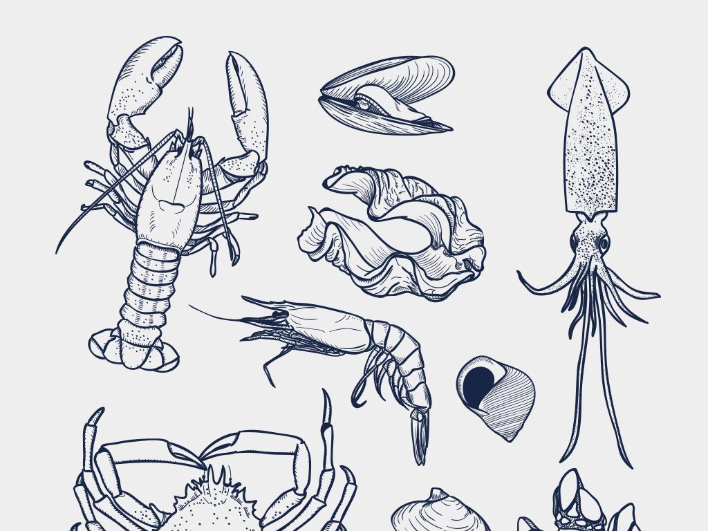 2018时尚复古手绘龙虾螃蟹海鲜餐厅元素矢量素材