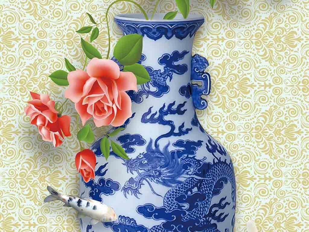 精美青花瓷玫瑰3d立体中式花瓶玄关背景墙