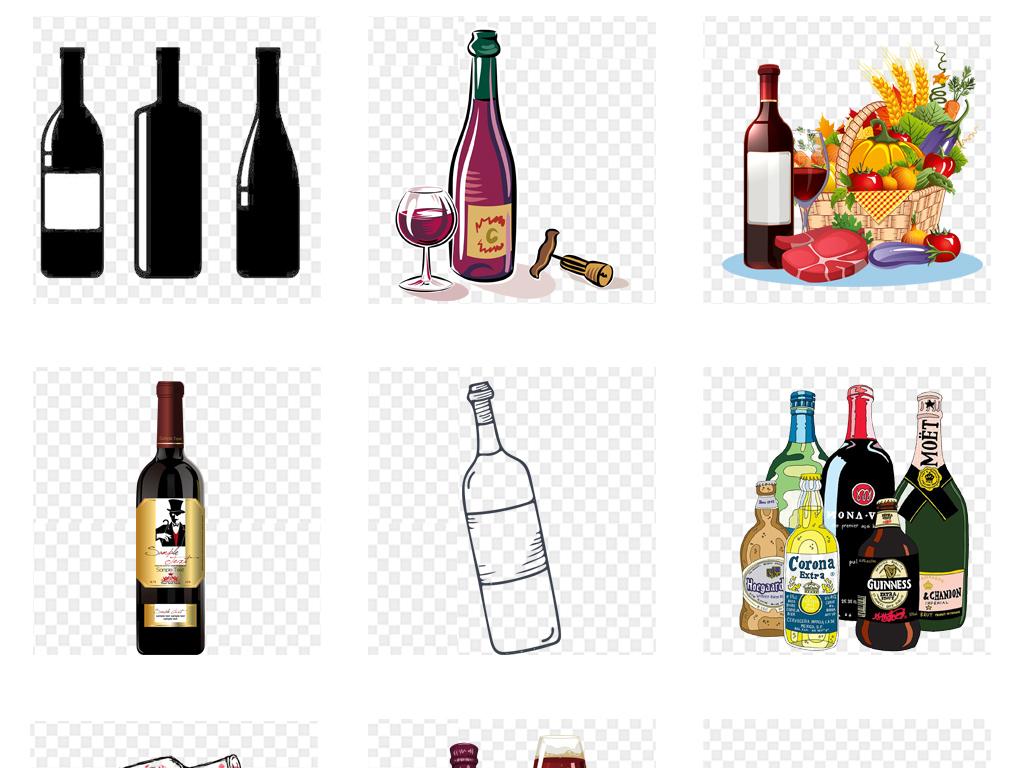 卡通手绘水彩葡萄酒红酒酒瓶png免扣素材