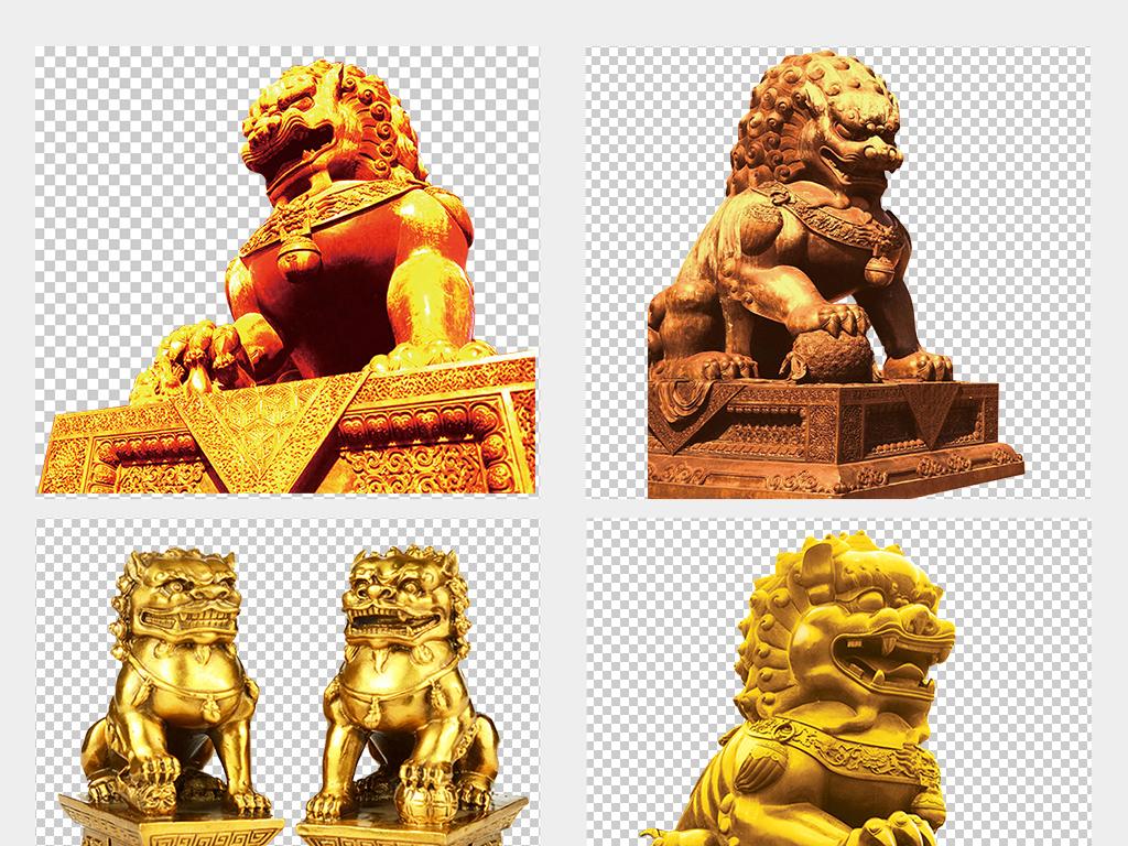 中国党政建设石狮子金色手绘石狮子剪影素材图片