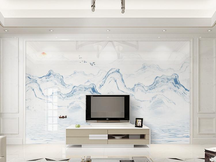 新中式抽象意境大理石山水石纹电视背景墙