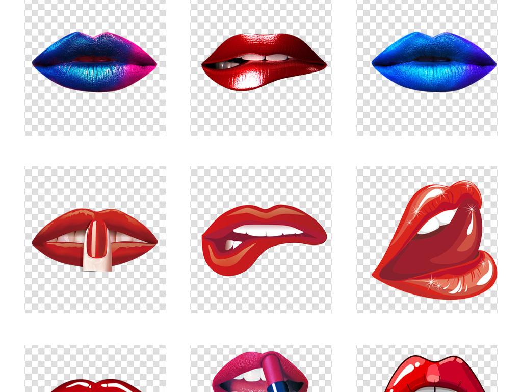 手绘性感嘴唇口红唇印唇纹大嘴巴png素材