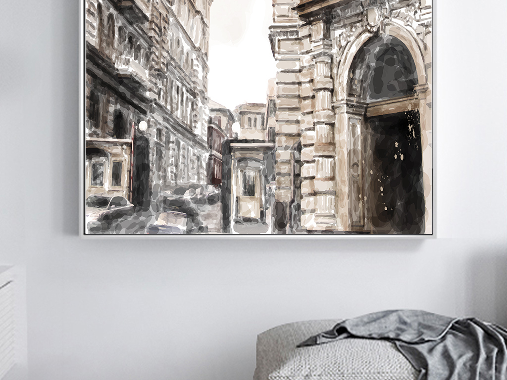 欧式复古城市建筑美式抽象手绘街道装饰画