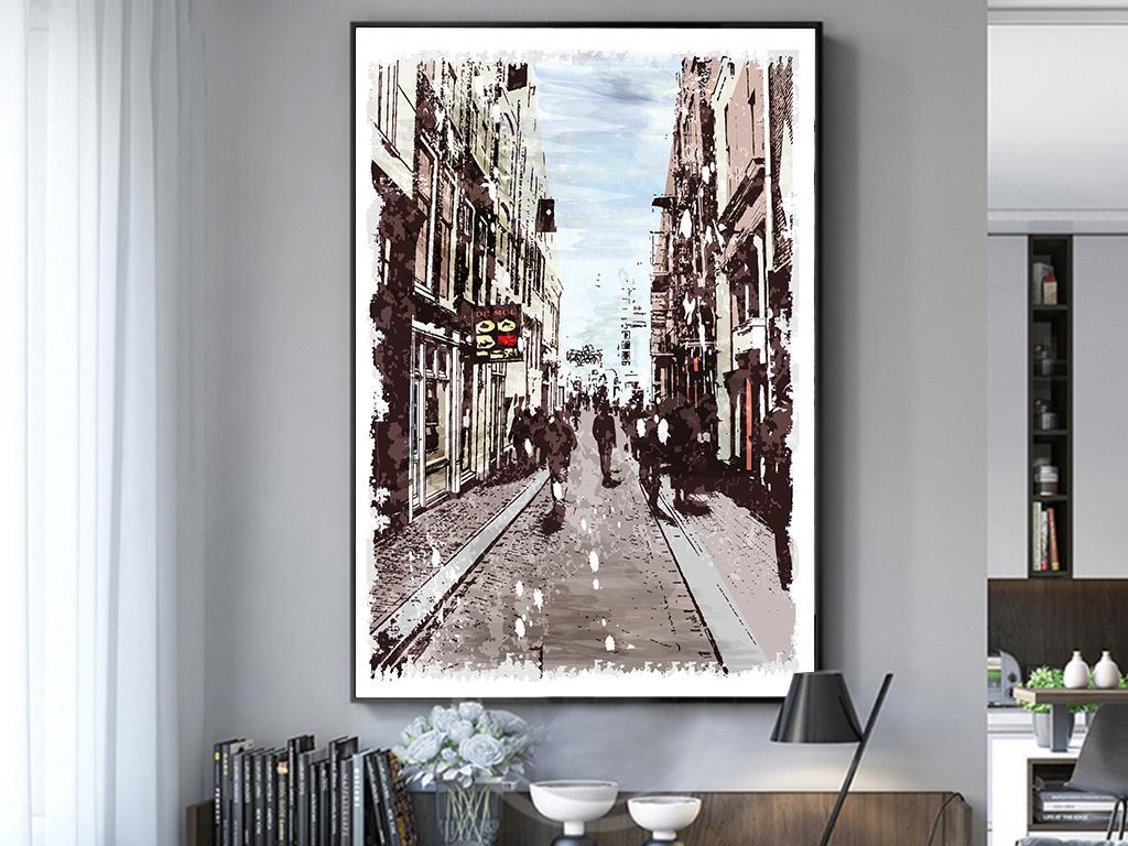 欧式复古城市建筑美式抽象手绘水彩装饰画
