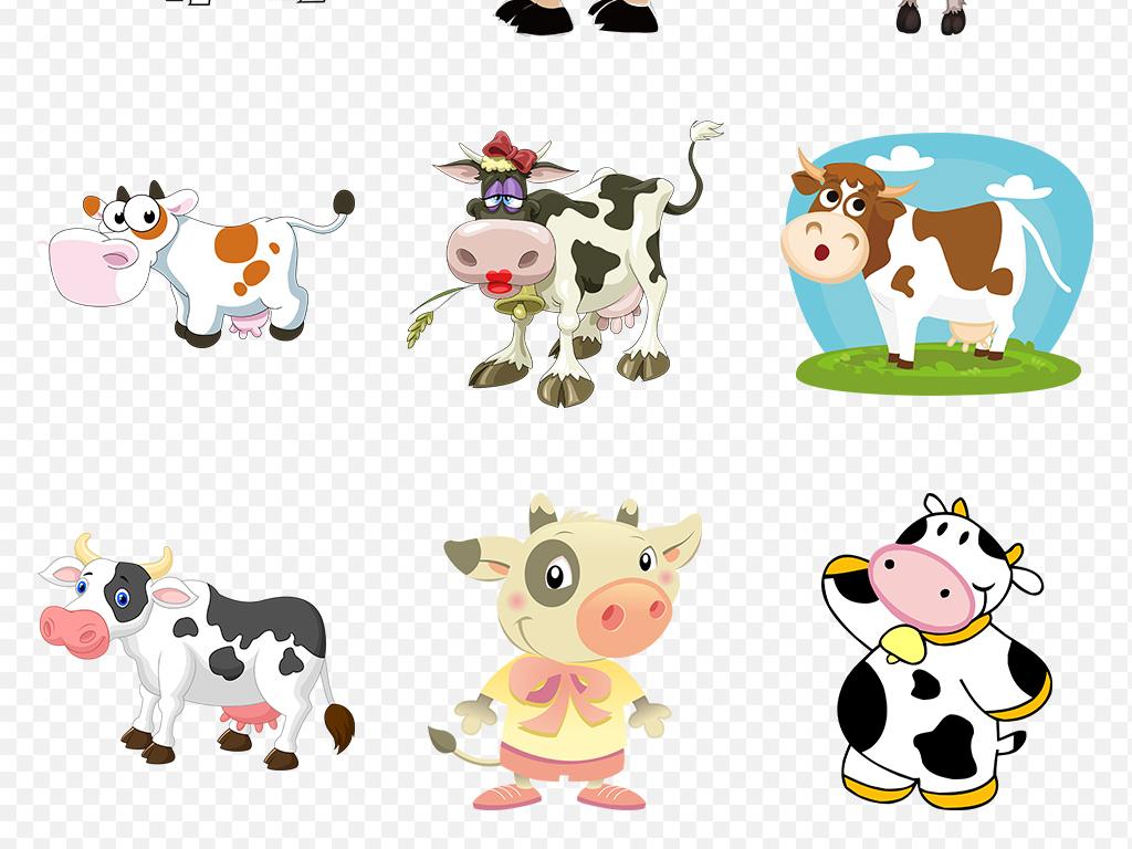 可爱卡通奶牛手绘动物牛奶海报素材背景png