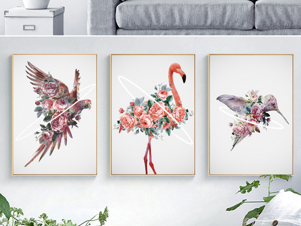 手绘小清新花卉火烈鸟鹦鹉北欧装饰画无框画