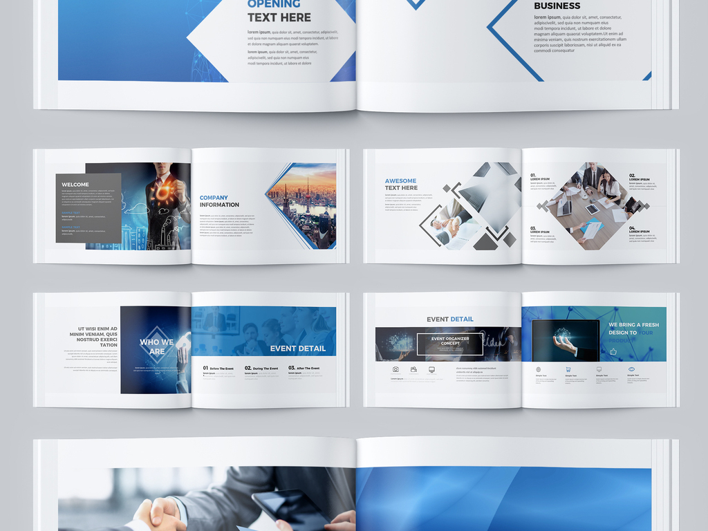 大气蓝色科技企业宣传画册设计ai模板图片